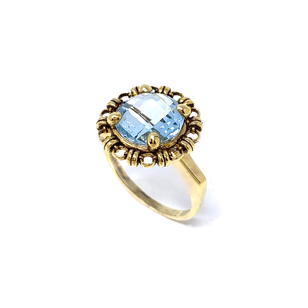 Ring Filary 10mm Blue Topaz Briolette Antique Gold