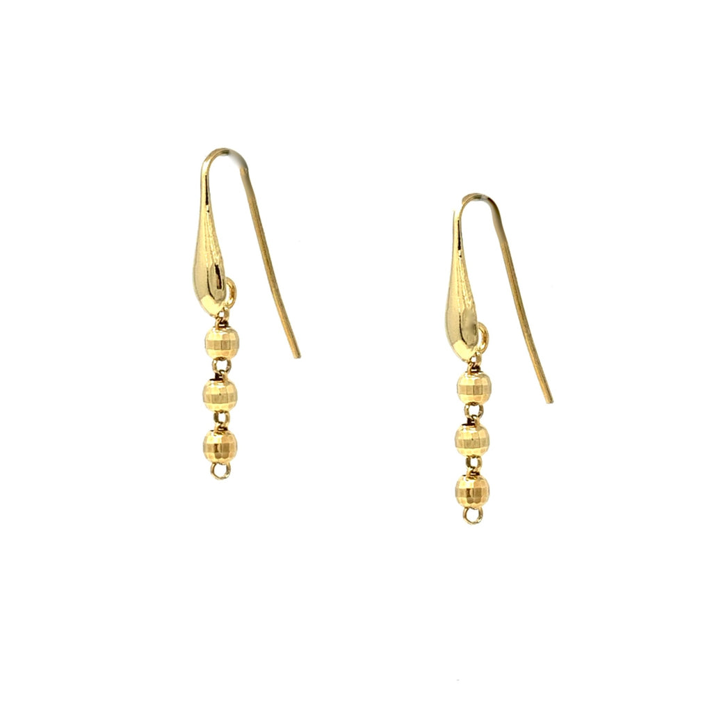 Earrings Diamond Beads 3mm x3 Gold