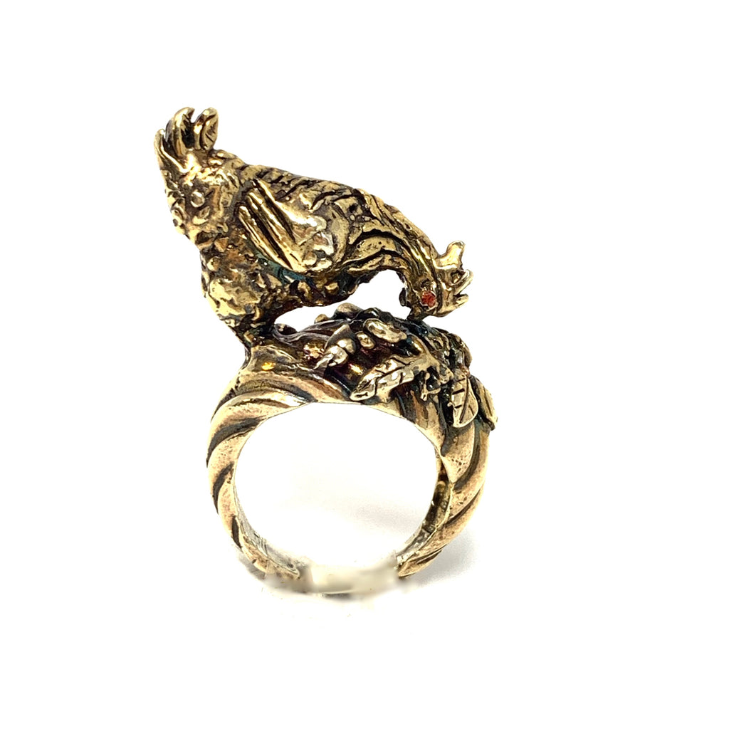 Ring Sculpture Hen Antique Gold