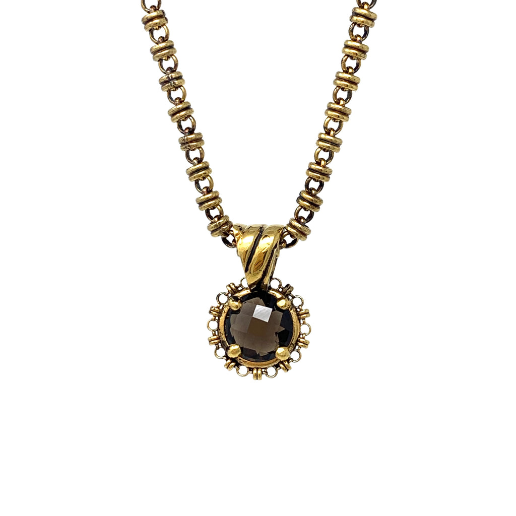 Pendant Filary 10mm Smoky Quartz Briolette Antique Gold