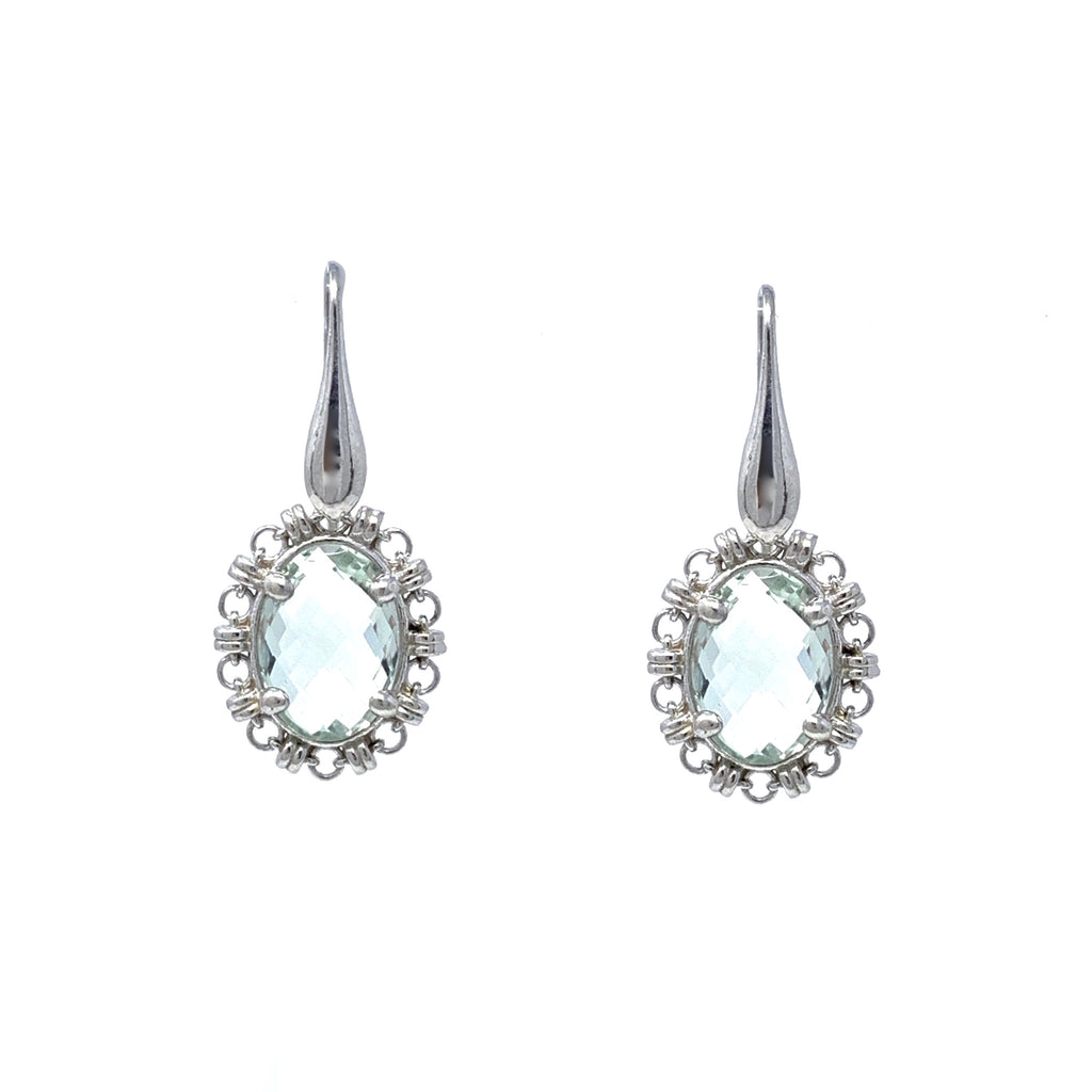 Earrings Aperitivo 14x10mm Prasiolite Briolette Rhodium