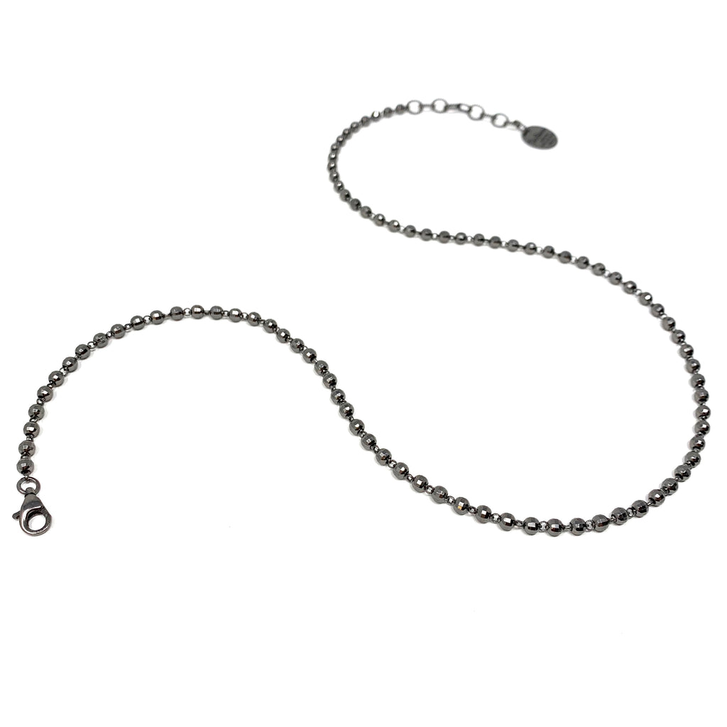 Necklace Diamond Beads 3mm B Ruthenium