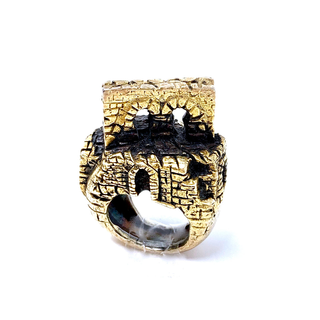 Ring Sculpture Porta Bifora Antique Gold