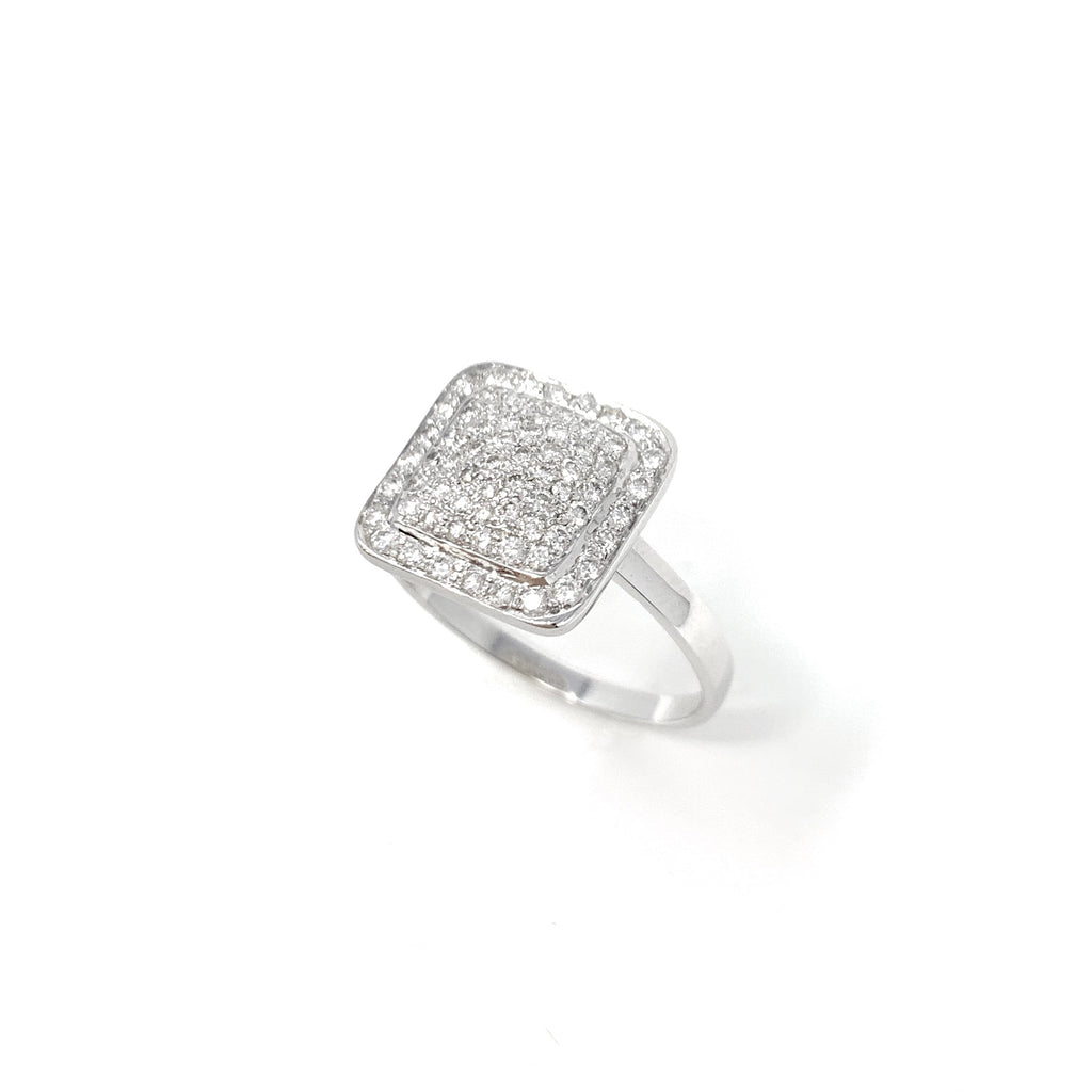 Ring 18K White Gold Diamonds Pave Square Double 0.48ct