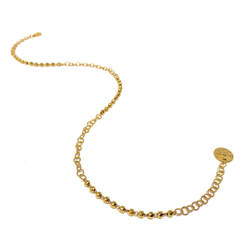 Necklace Wispy 5mm Diamond Beads A Gold