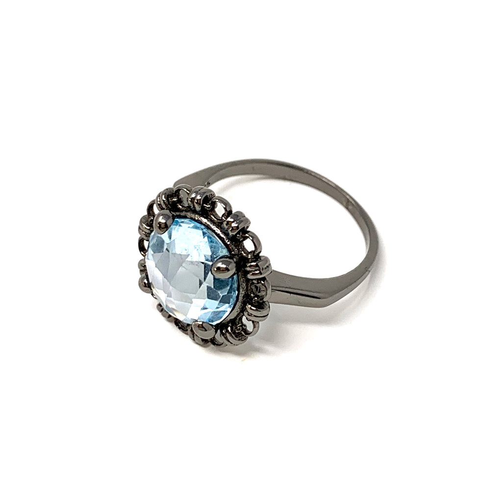 Ring Filary 10mm Blue Topaz Briolette Black Rhodium