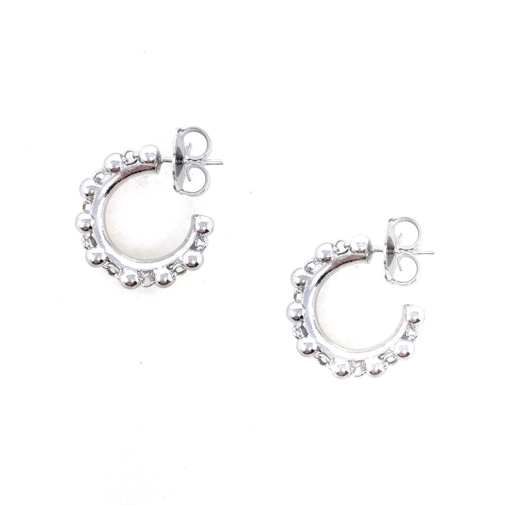 Beads 3mm Hoops Earrings (Rhodium)
