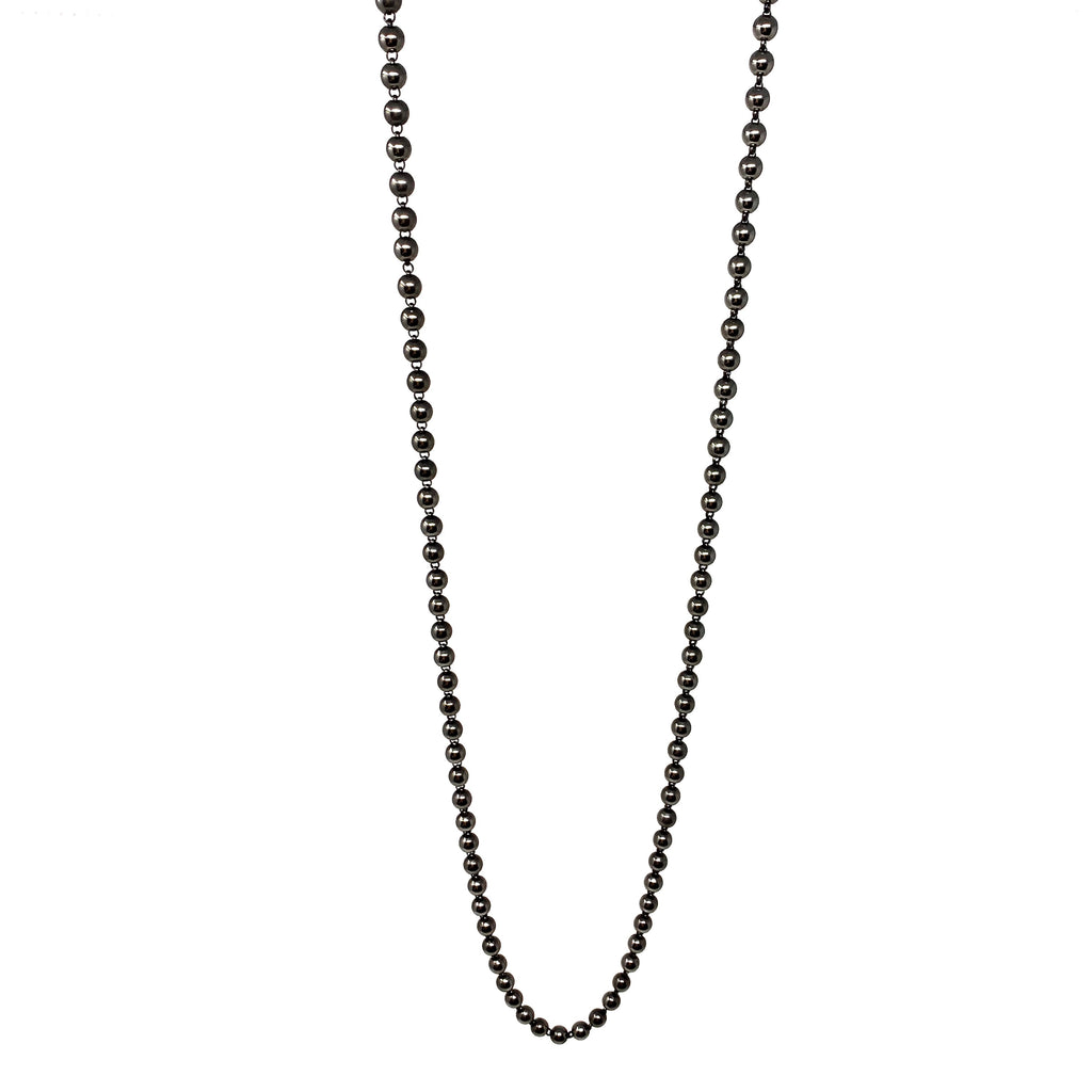 Necklace Beads 5mm C Black Rhodium
