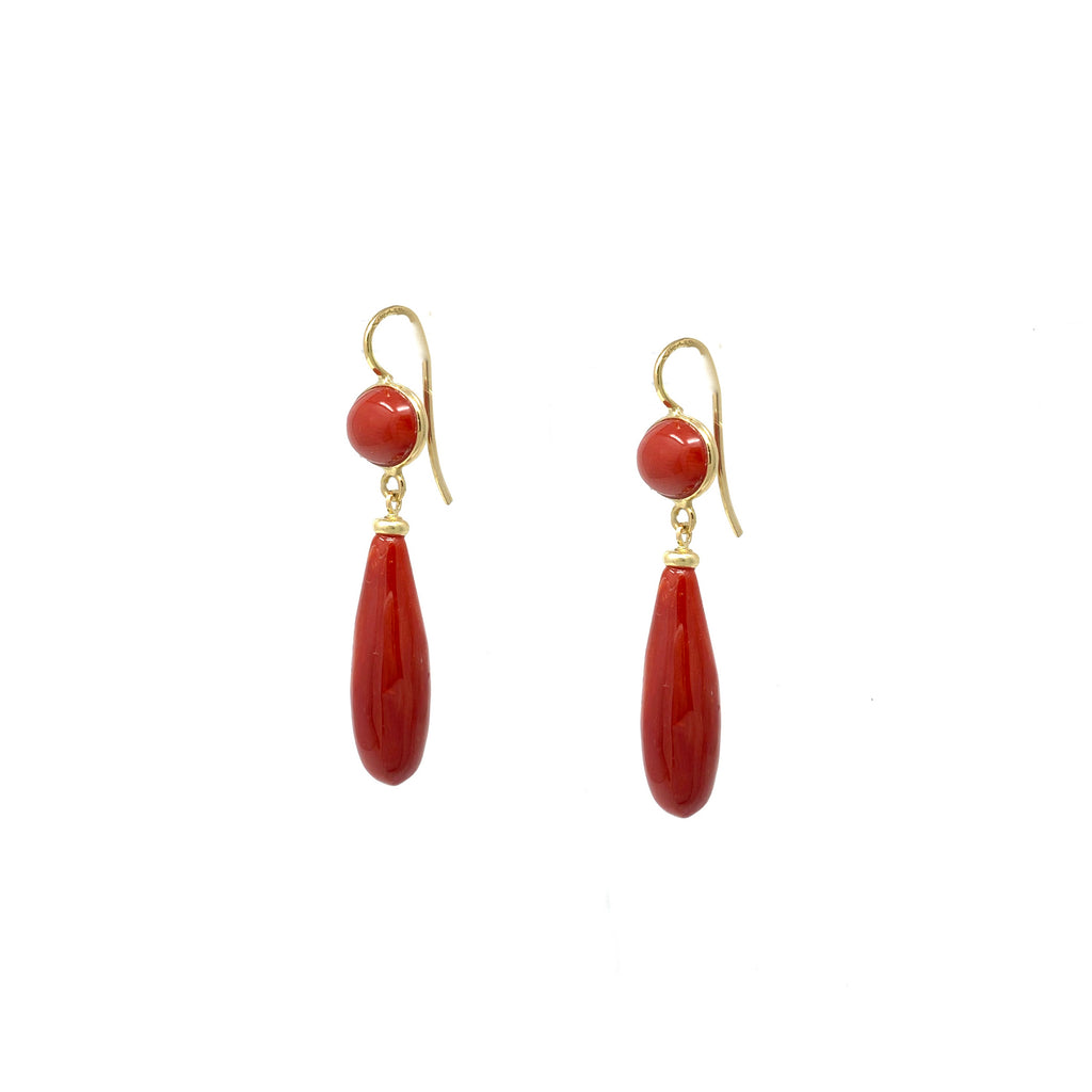 Earrings 18K Yellow Gold Sardinian Coral Drops Hook