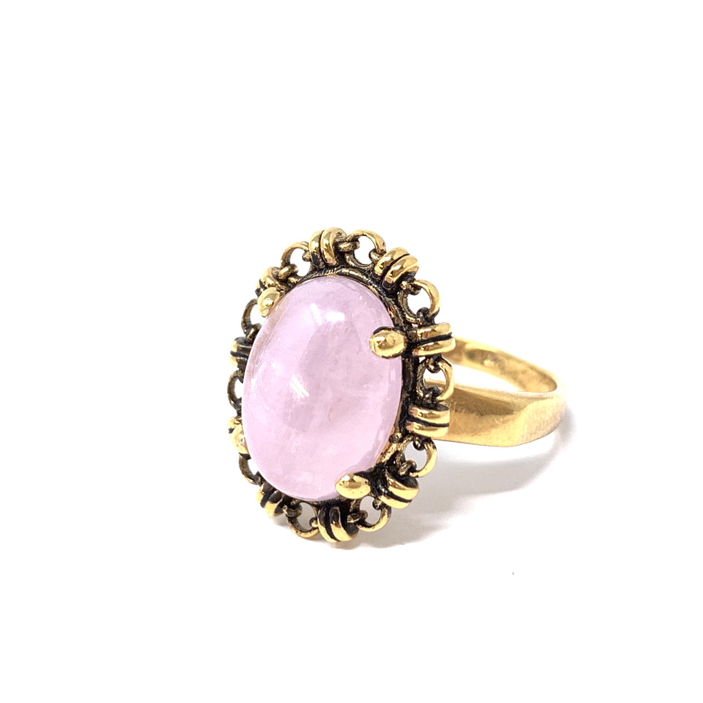 Ring Aperitivo 14x10mm Kunzite Cabochon Antique Gold