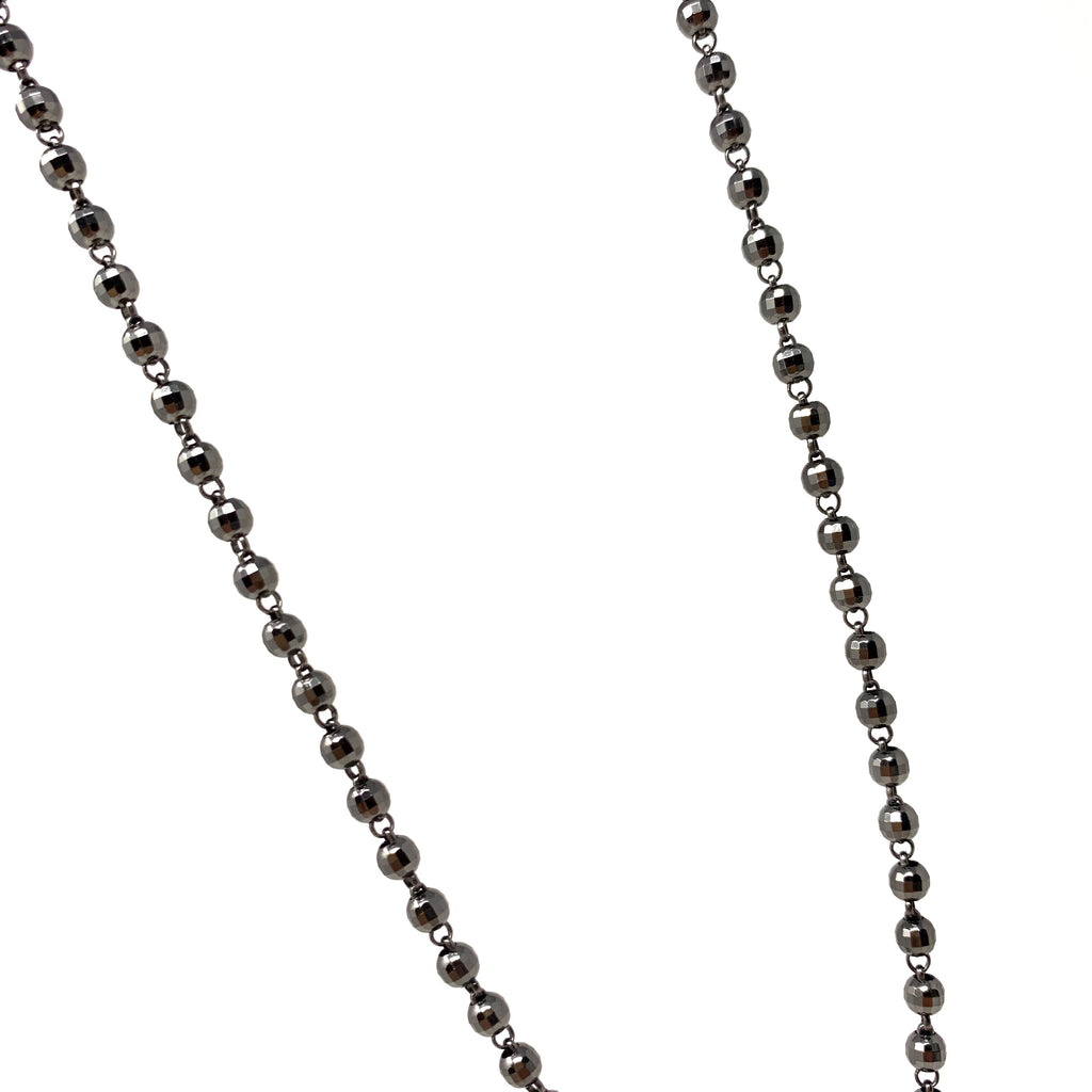 Necklace Diamond Beads 3mm B Black Rhodium