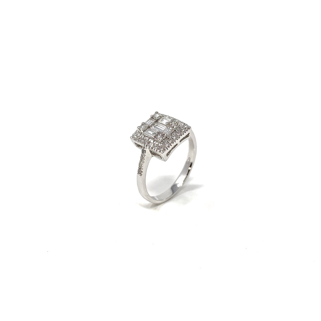 Ring 18K White Gold Diamonds Baguette 0.75ct
