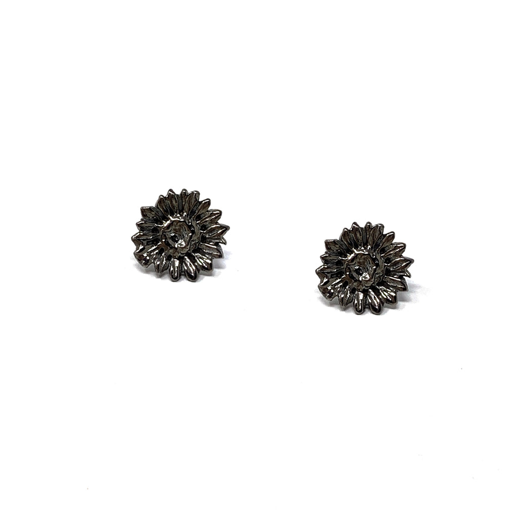 Earrings Sunflower Small Studs Ruthenium