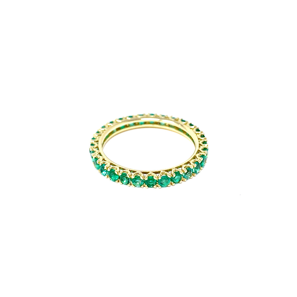 Ring 18K Yellow Gold Eternity Emeralds 1.06ct