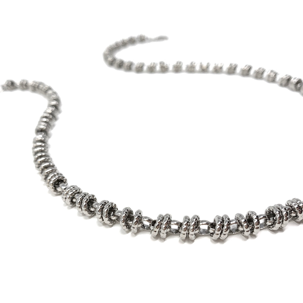 Necklace Etruscan Links 7mm B Rhodium