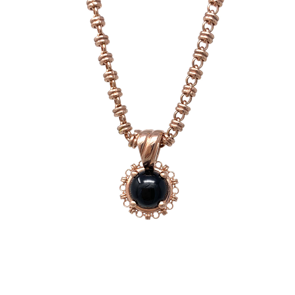 Pendant Filary 10mm Onyx Cabochon Rose Gold