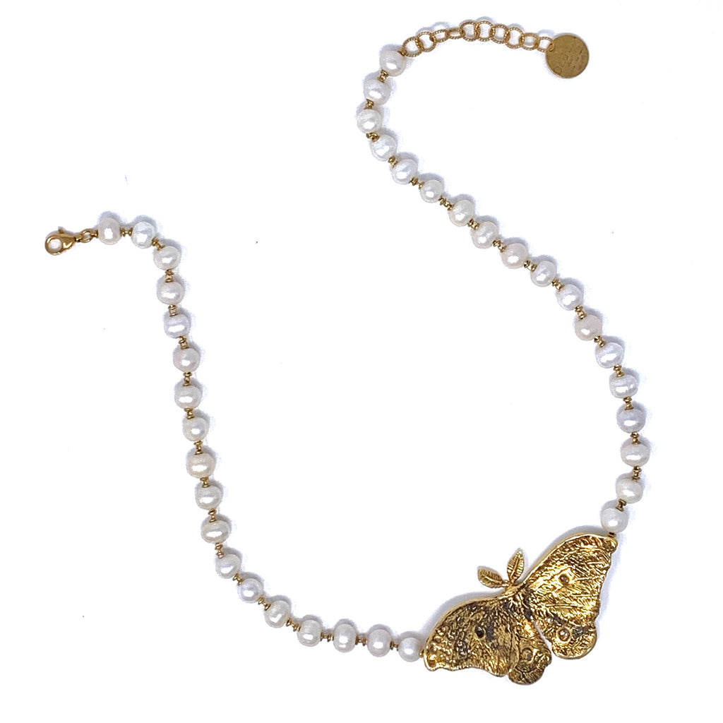 Night Butterfly Necklace in Gold with Freshwater Pearls