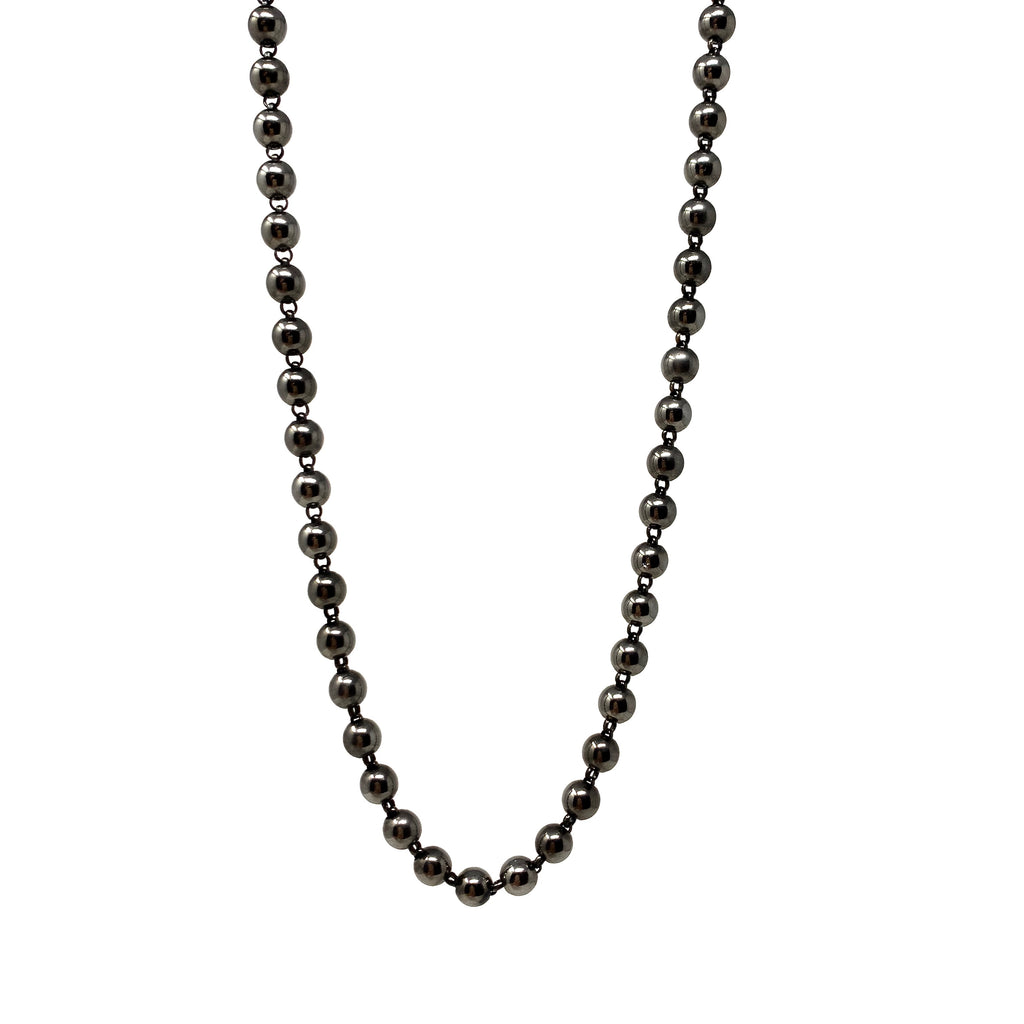 Necklace Beads 5mm B Ruthenium