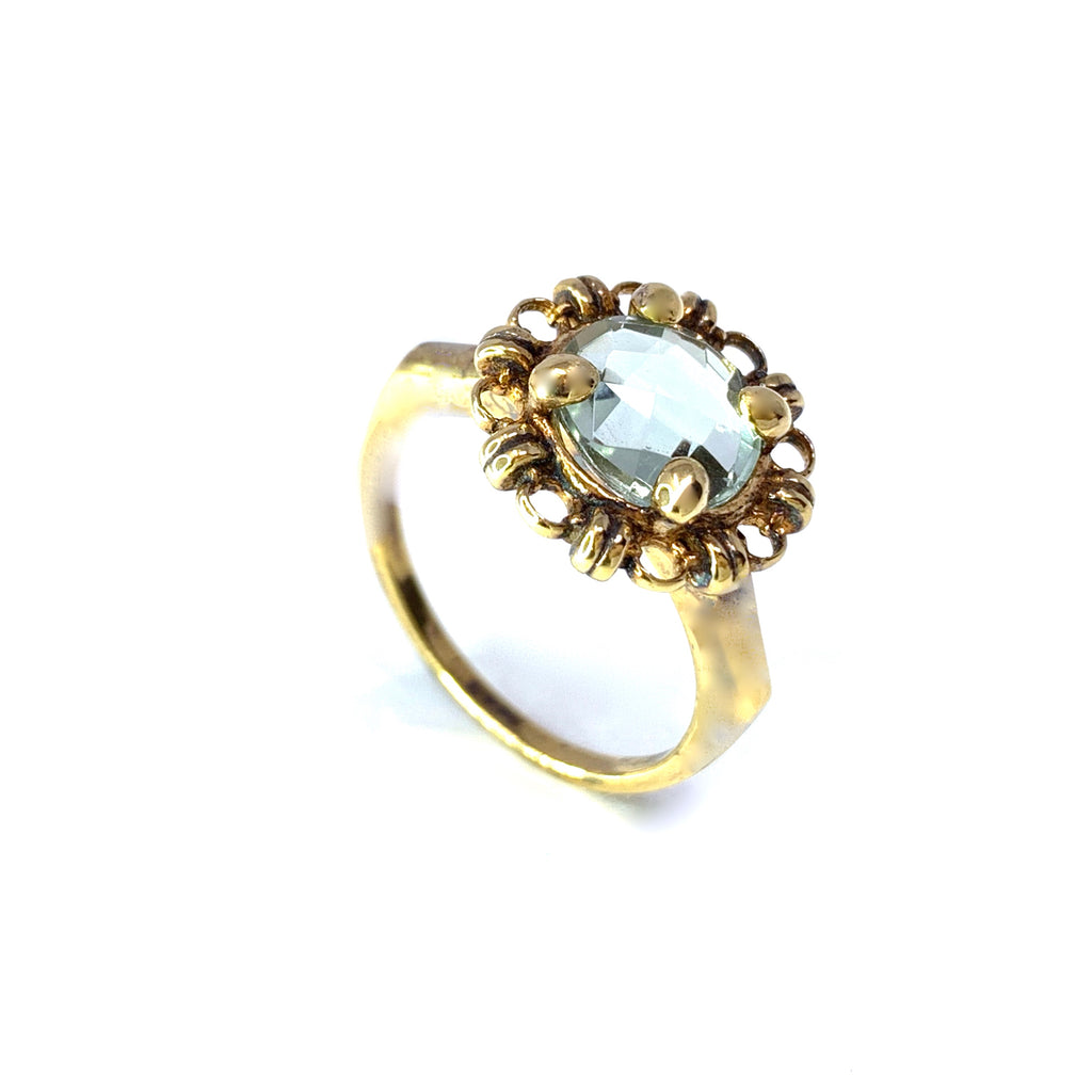 Ring Filary 8mm Green Amethyst Briolette Antique Gold