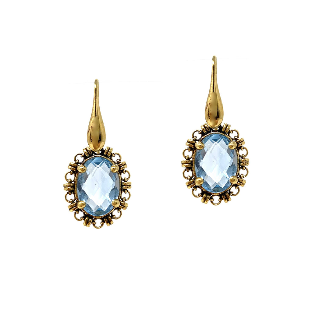 Earrings Aperitivo 14x10mm Blue Topaz Briolette Antique Gold