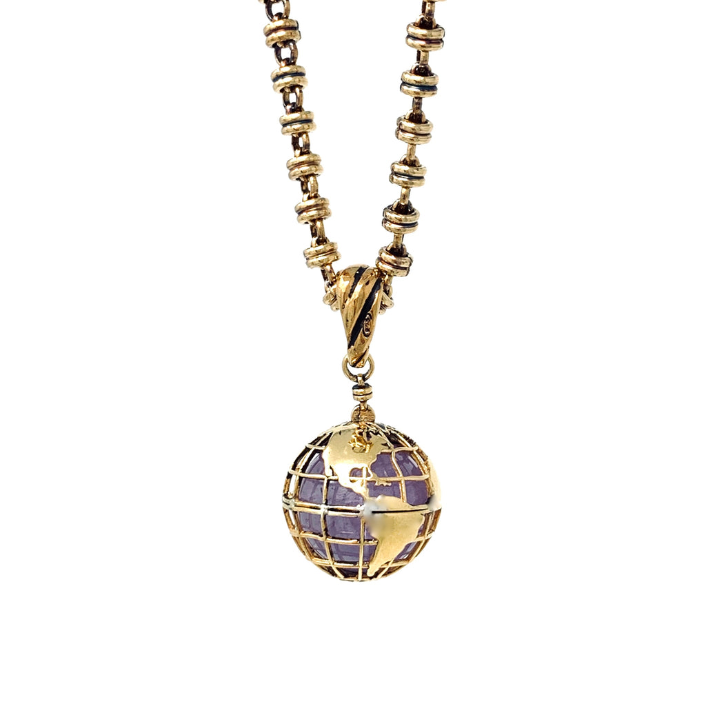 Pendant Globe Small Amethyst Antique Gold