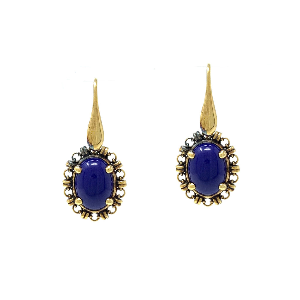 Earrings Aperitivo 14x10mm Lapis Cabochon Antique Gold