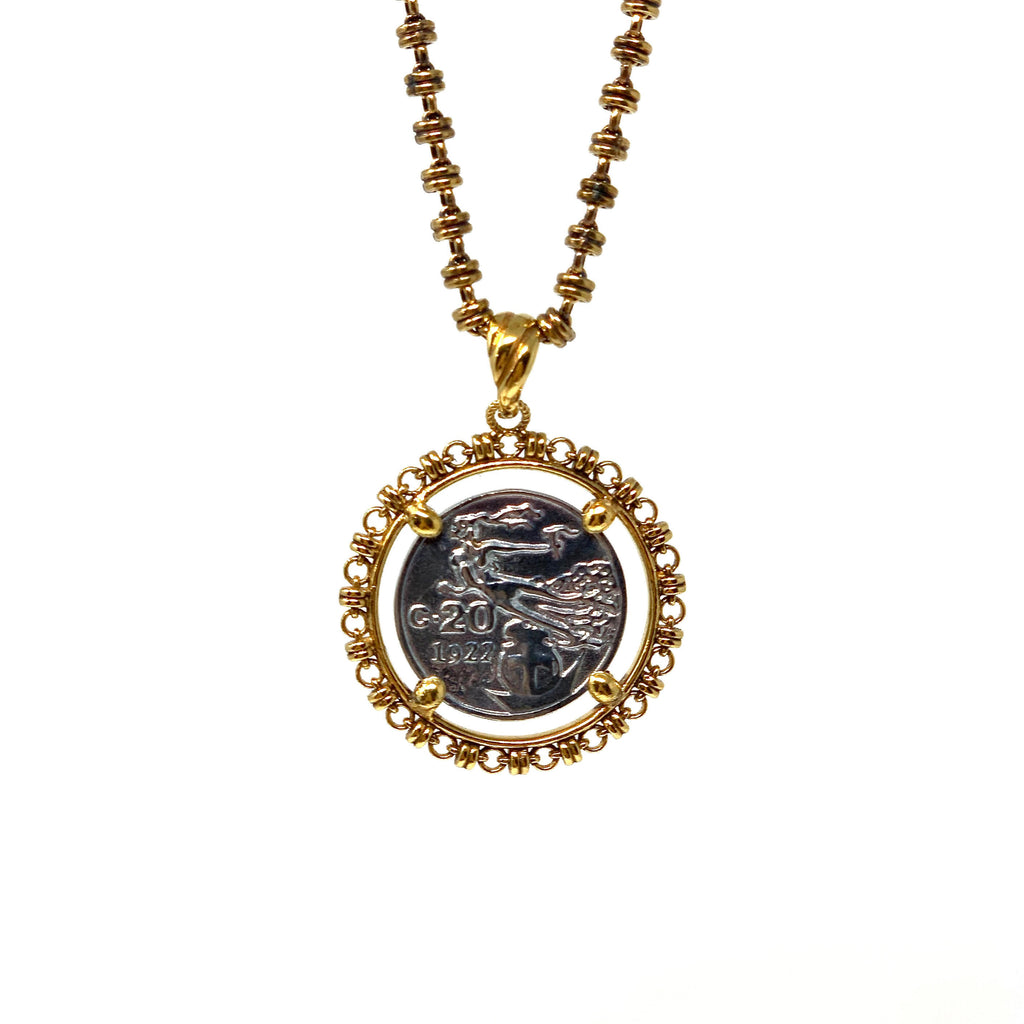 Pendant Filary Coin Italia Rhodium Small Antique Gold