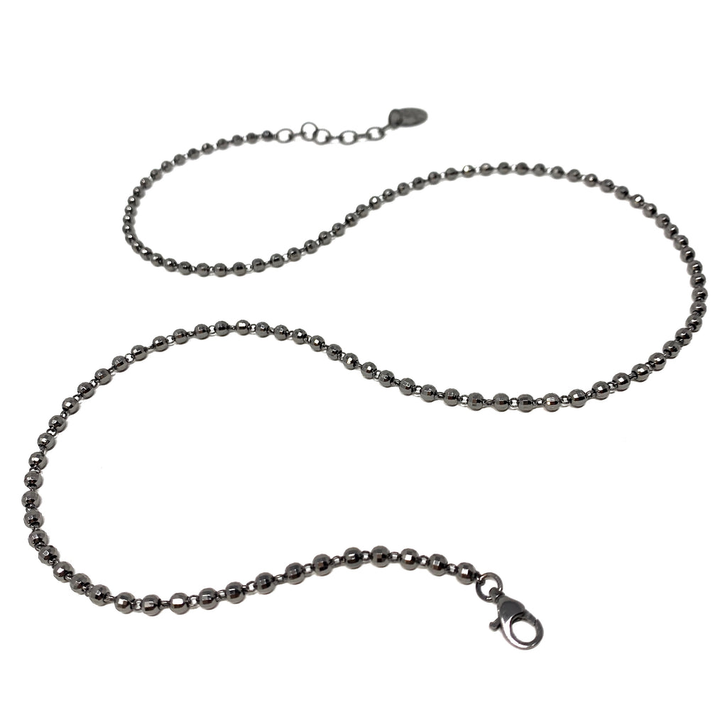 Necklace Diamond Beads 3mm C Black Rhodium