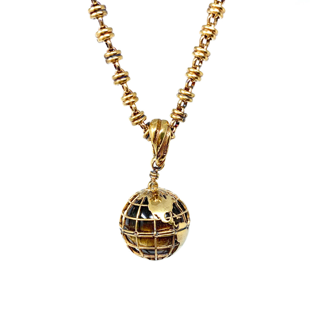 Pendant Globe Small Tiger's Eye Antique Gold