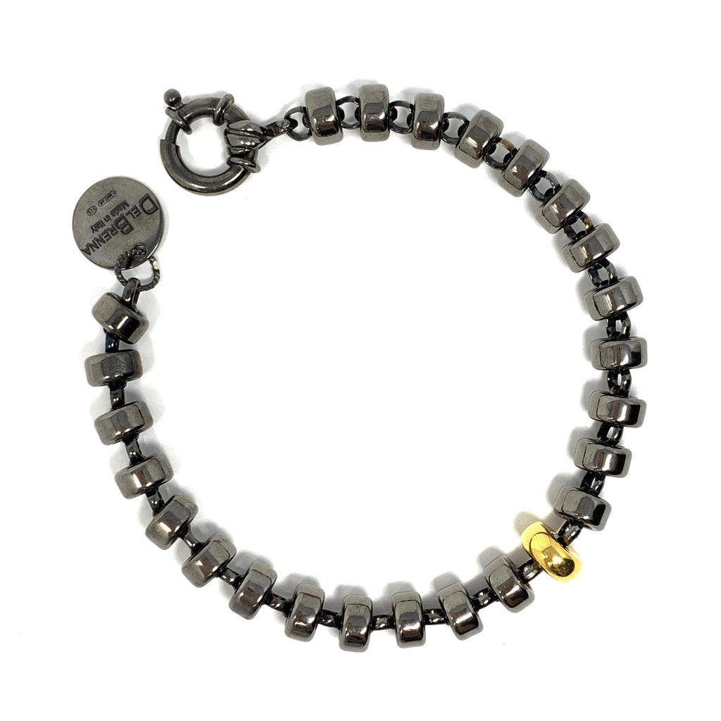 Bracelet Ciambelle 8mm and 18K Gold x1 Ruthenium Man
