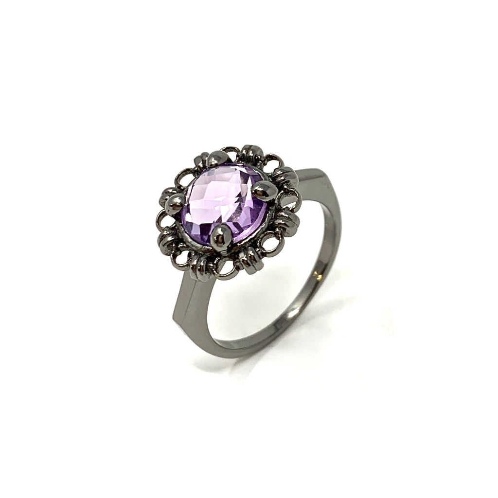 Ring Filary 8mm Amethyst Briolette Ruthenium