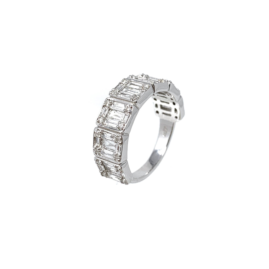 Ring 18K White Gold Diamonds Baguette x7 1.53ct