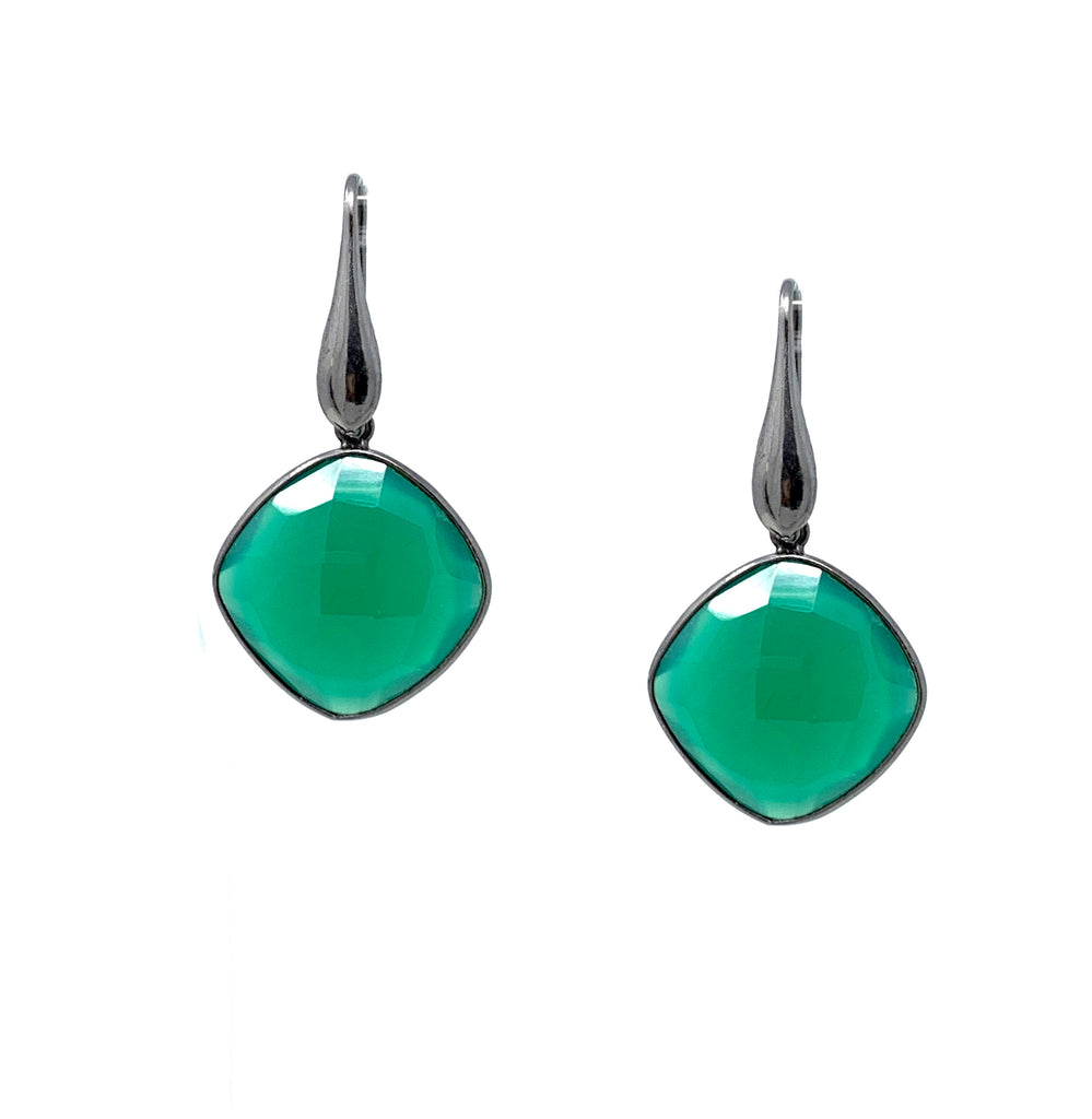 Earrings Dolce Vita Green Agate Square Ruthenium