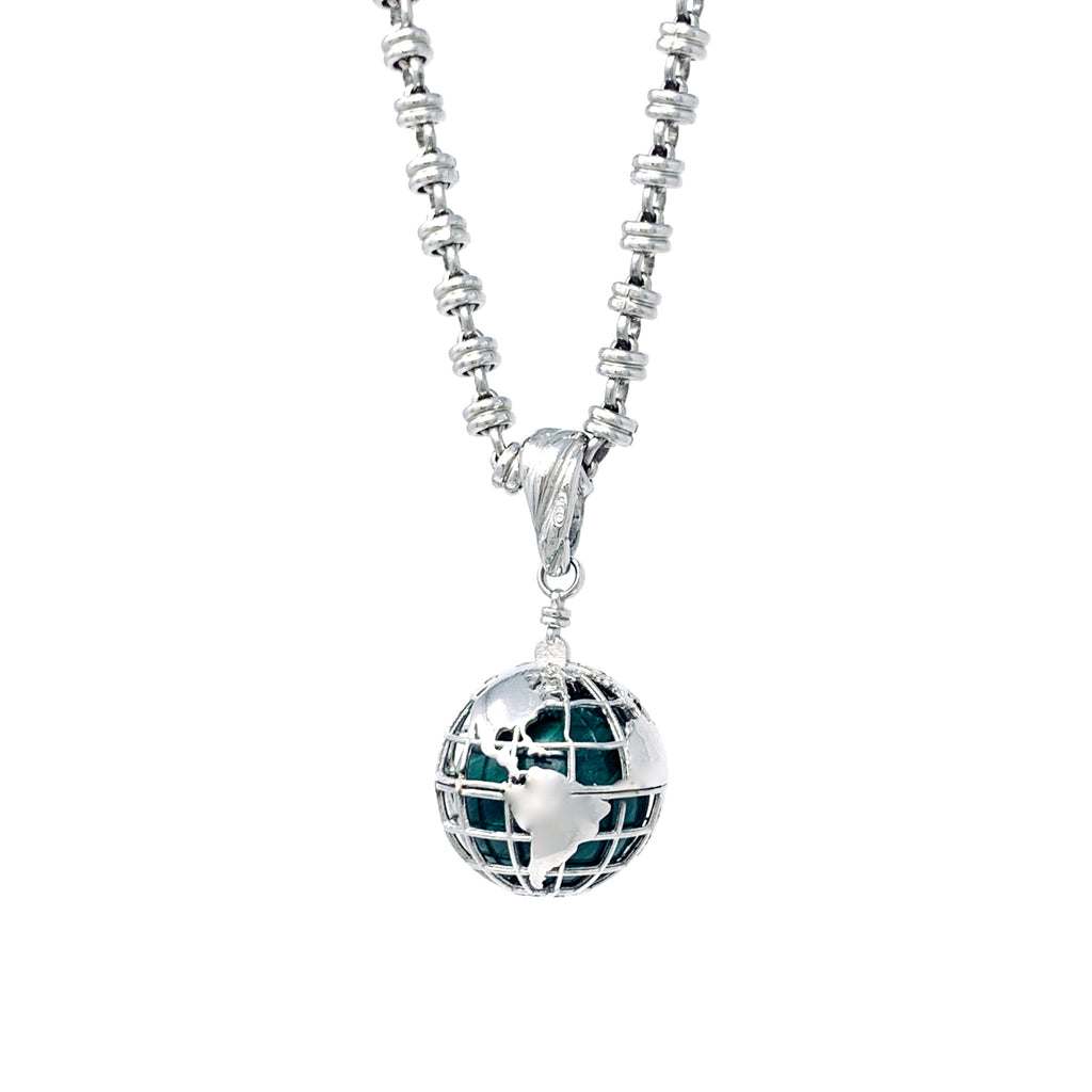 Pendant Globe Small Malachite Rhodium