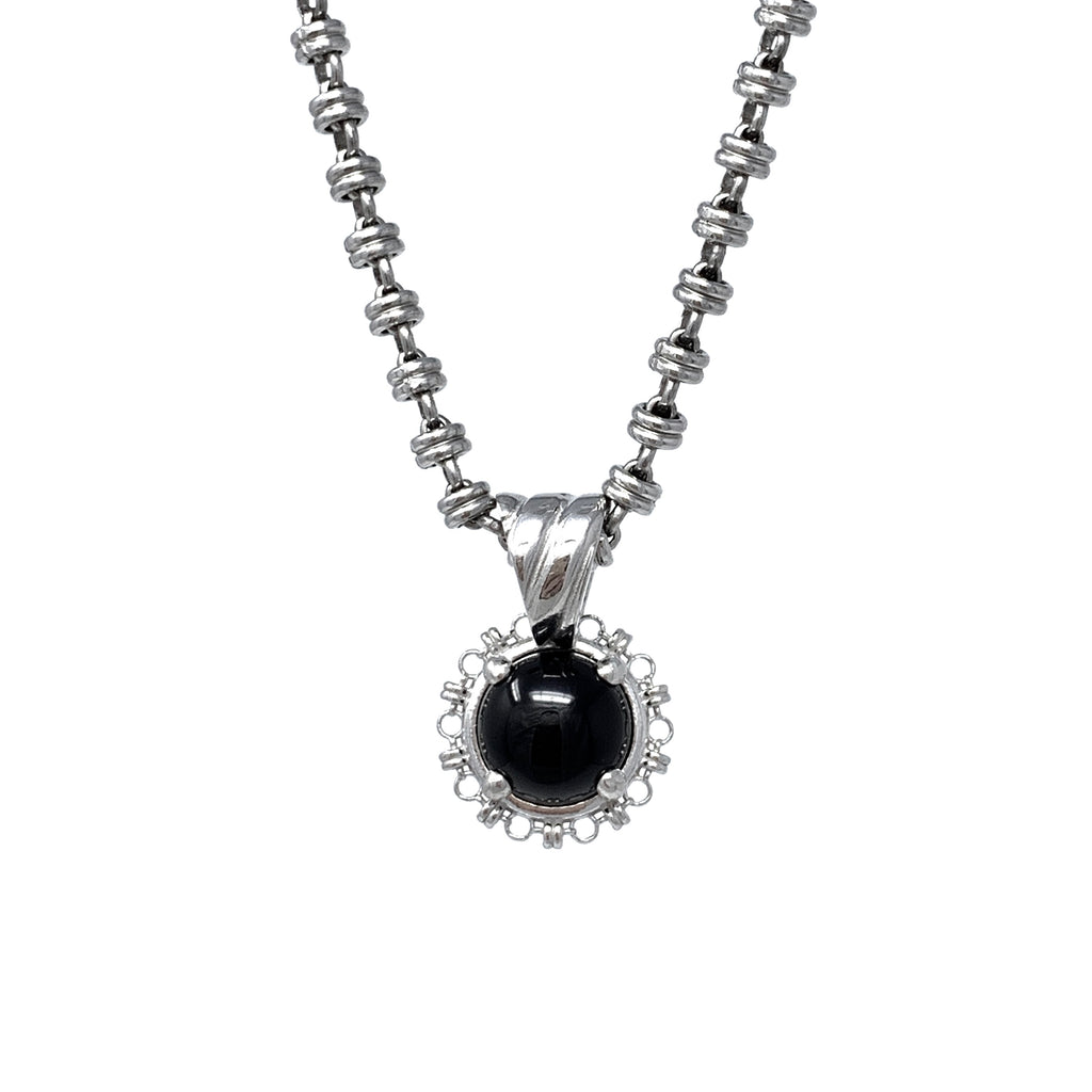 Pendant Filary 10mm Onyx Cabochon Rhodium