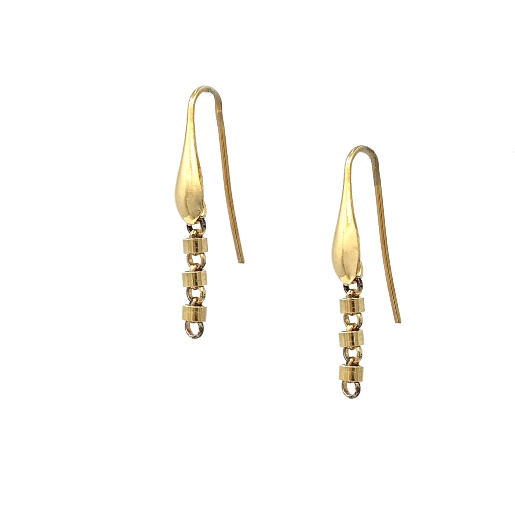 Earrings Cylinders 3mm x3 Antique Gold
