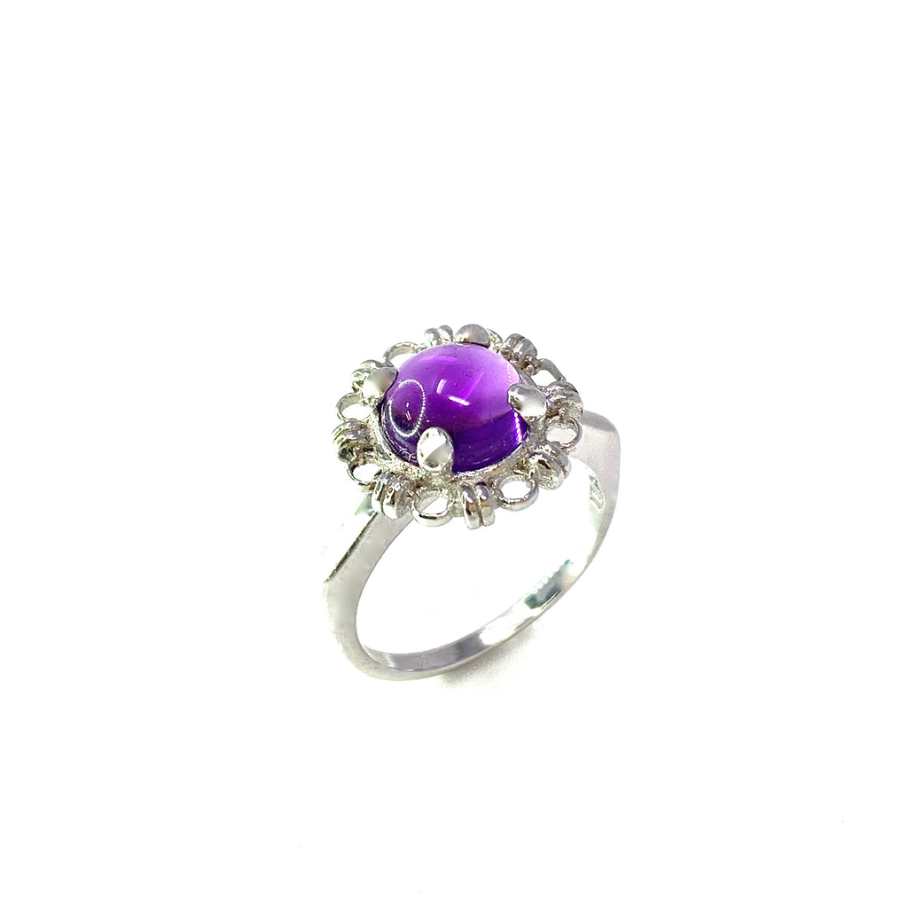 Ring Filary 8mm Amethyst Cabochon Rhodium