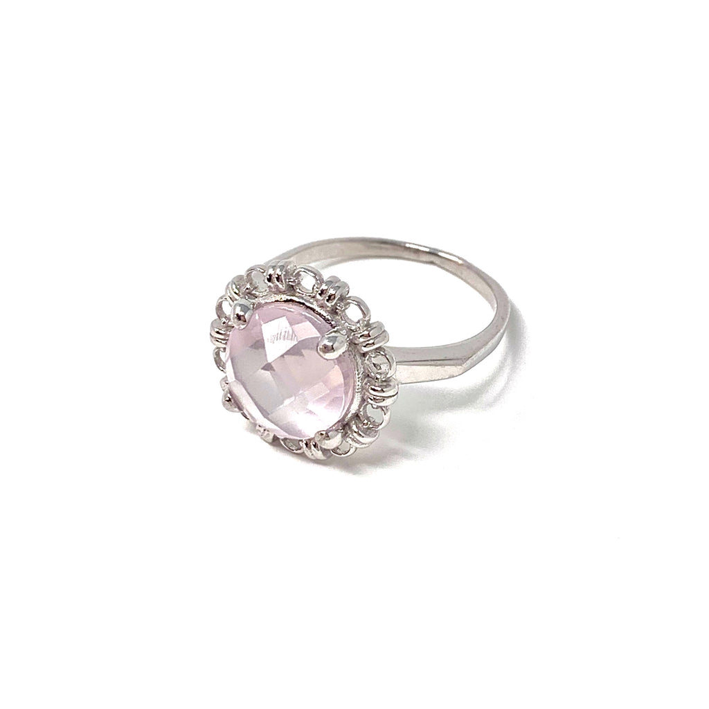 Ring Filary 10mm Rose Quartz Briolette Rhodium