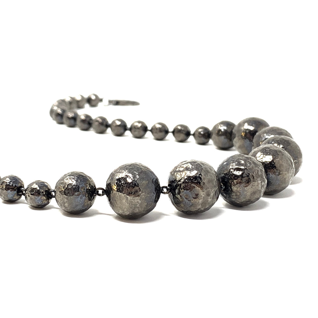 Necklace Sofia Hammered Beads 8-16mm Ruthenium