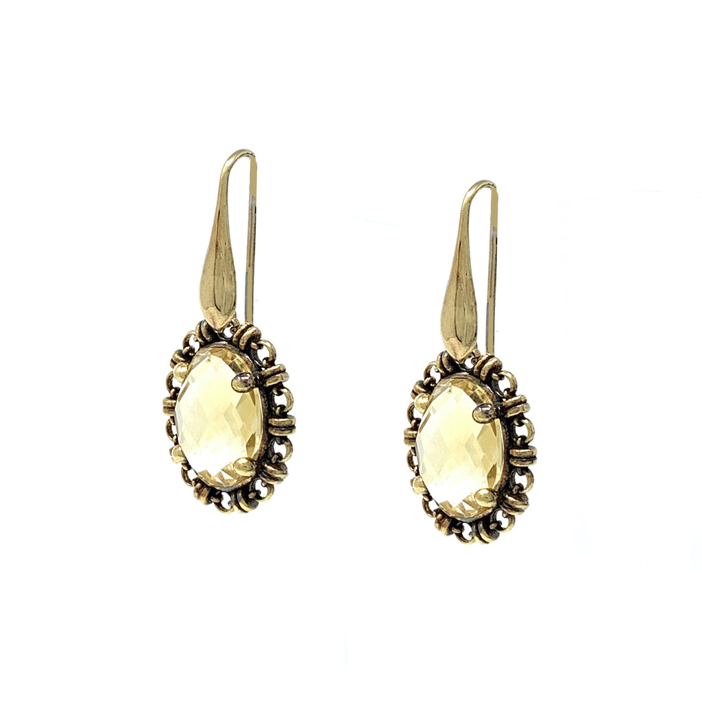Earrings Aperitivo 14x10mm Citrine Briolette Antique Gold