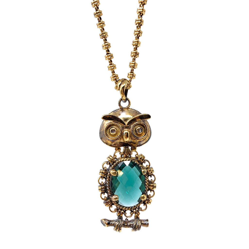 Pendant Owl 15x20mm Hydrothermal Peridot Briolette Antique Gold