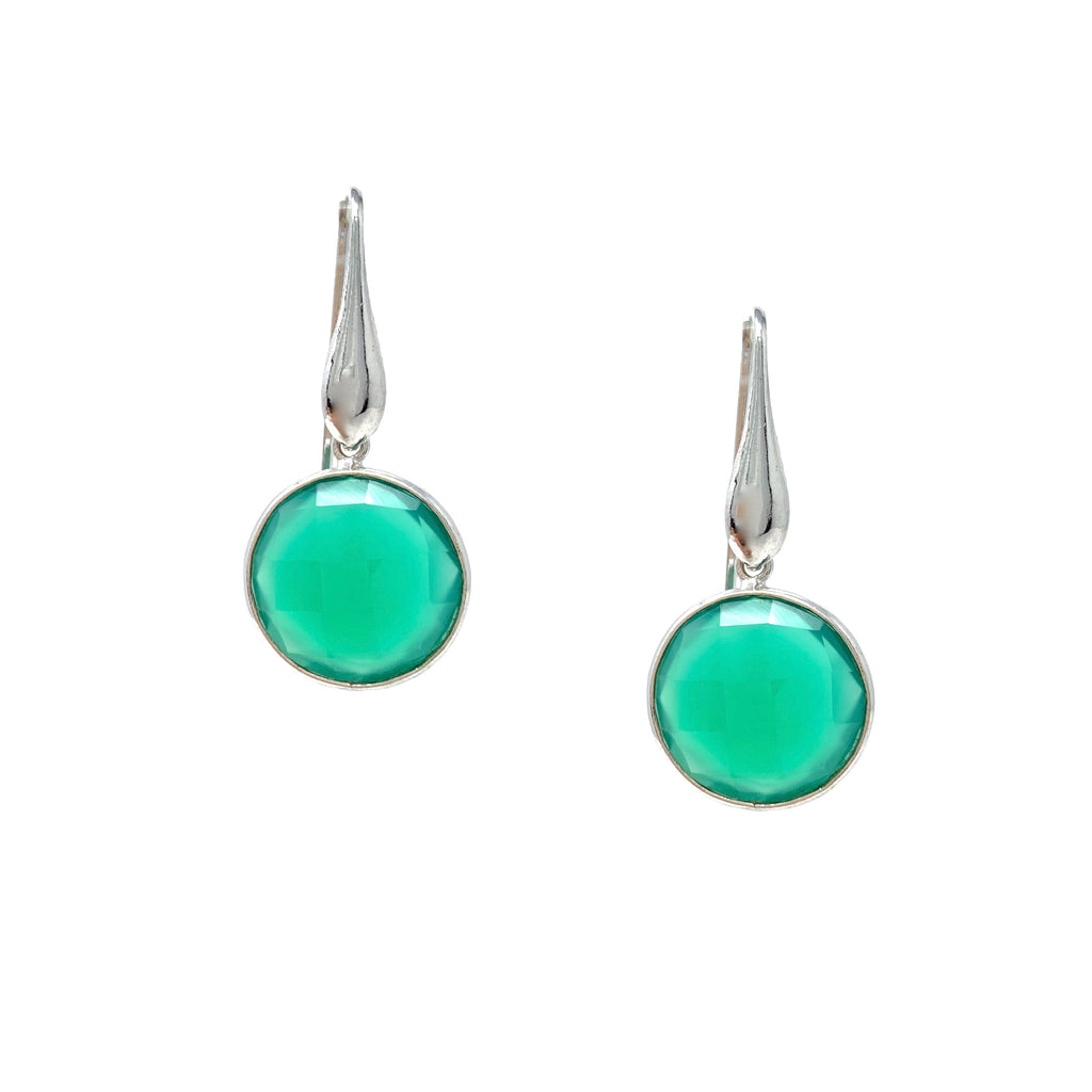 Earrings Dolce Vita Green Agate Round Rhodium