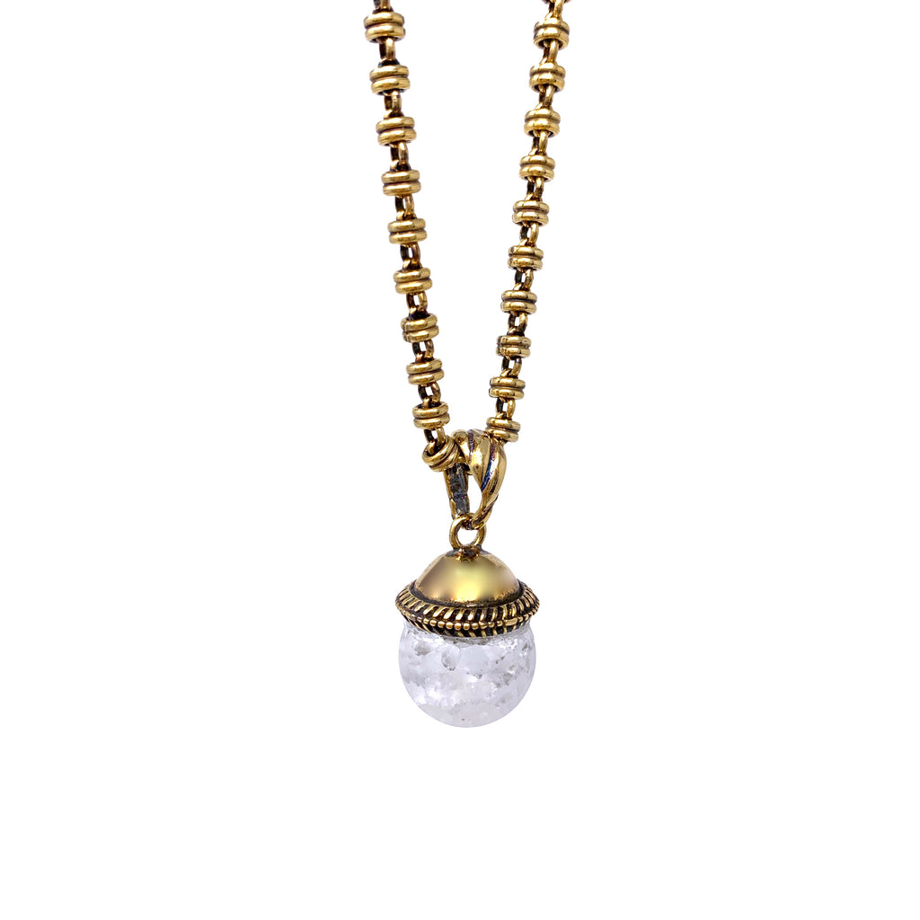 Cappellino Pendant in Gold with Crakle White Agate