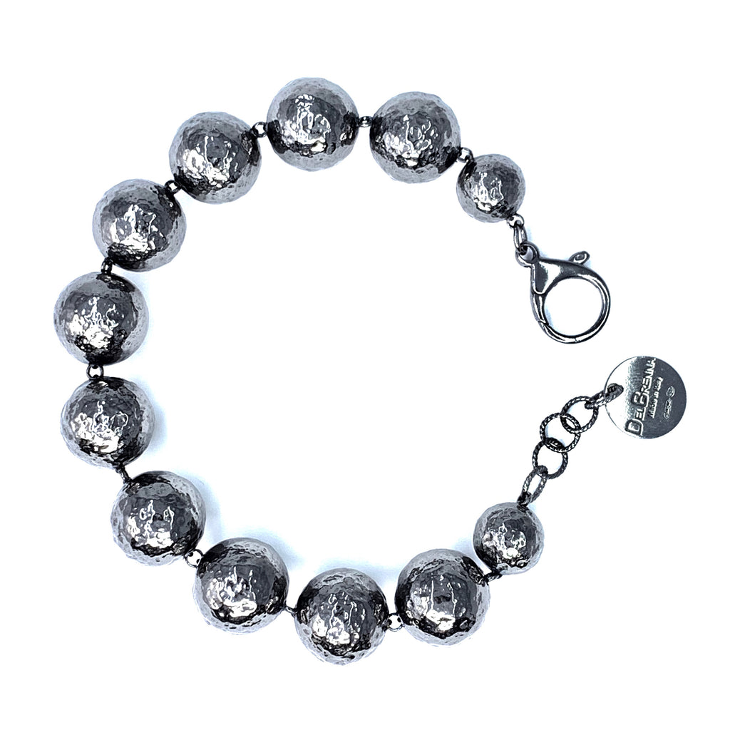 Bracelet Hammered Beads 16mm Ruthenium