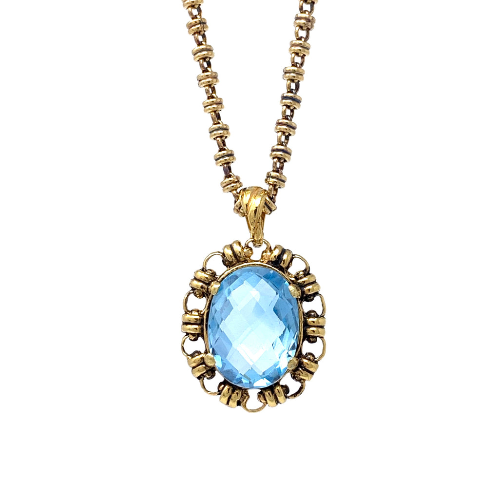Pendant Megani 20x15mm Blue Topaz Antique Gold