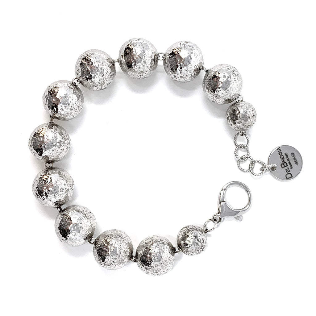 Bracelet Hammered Beads 16mm Rhodium