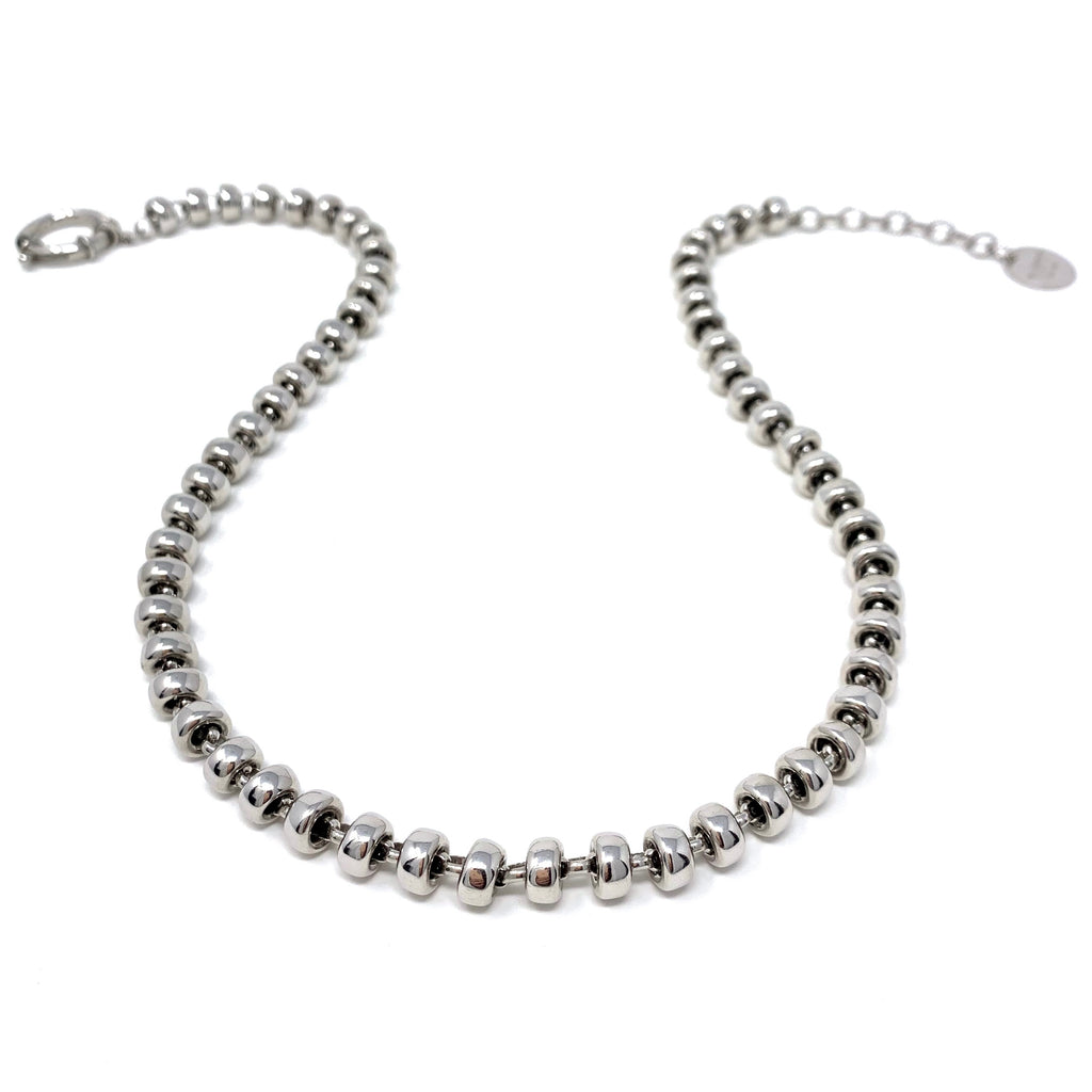 Necklace Ciambelle 10mm A Rhodium