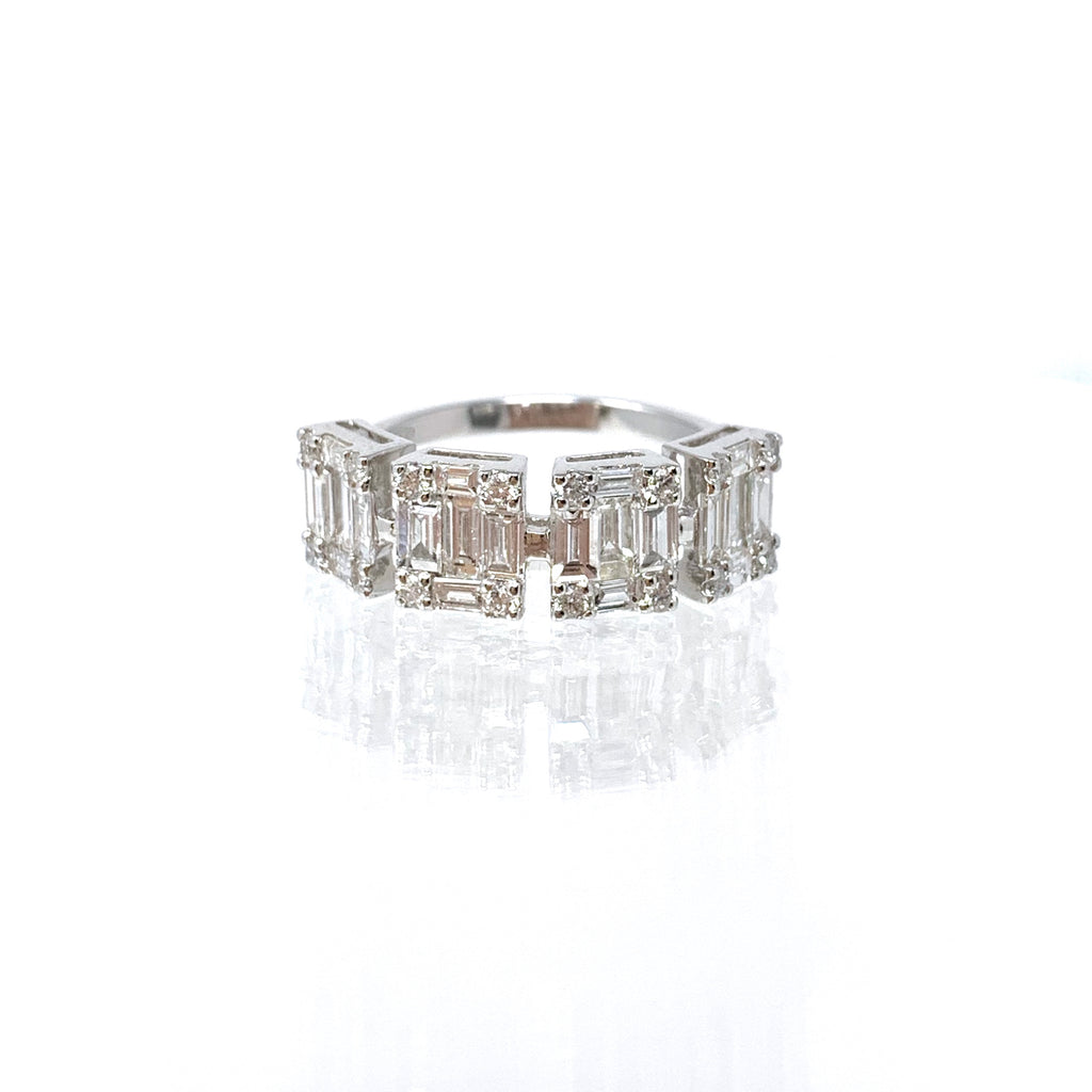 Ring 18K White Gold Diamonds Baguette x4 1.65ct