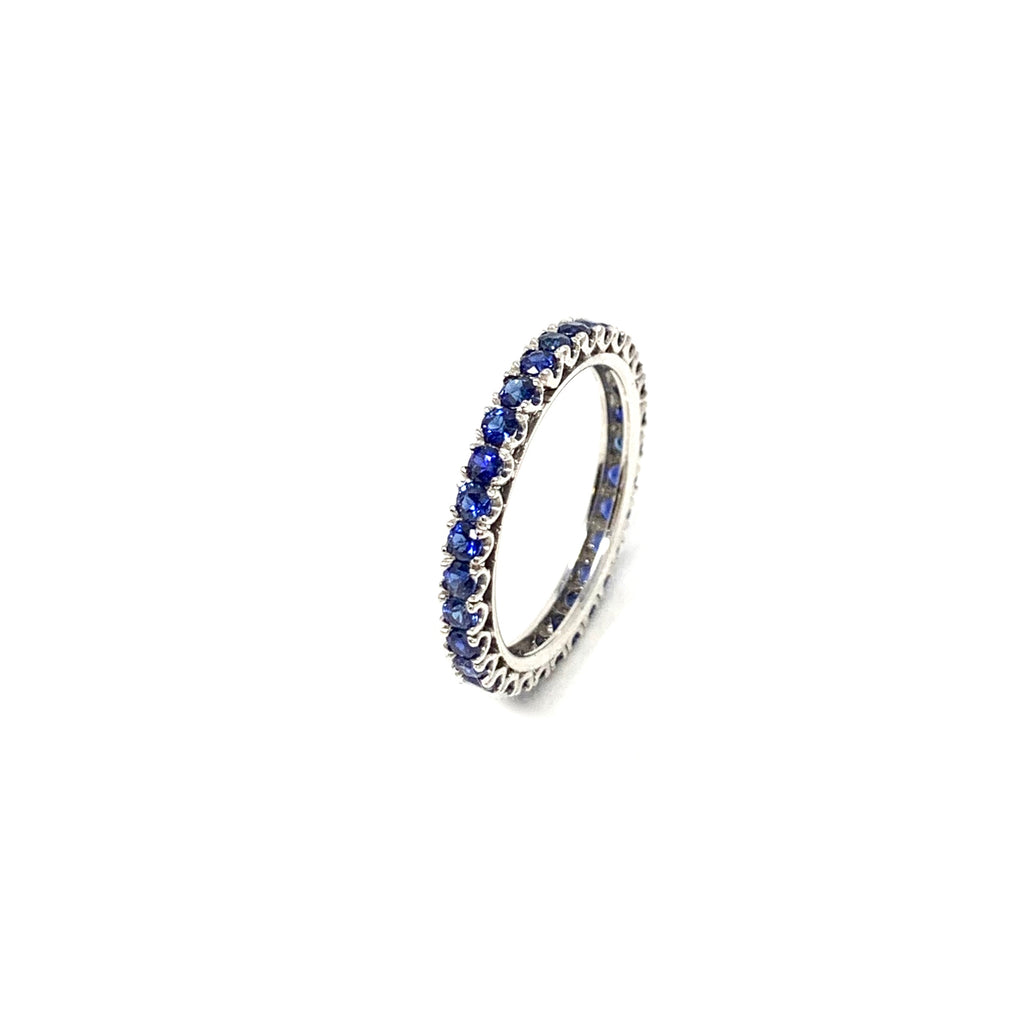 Ring 18K White Gold Eternity Blue Sapphires 1,26ct