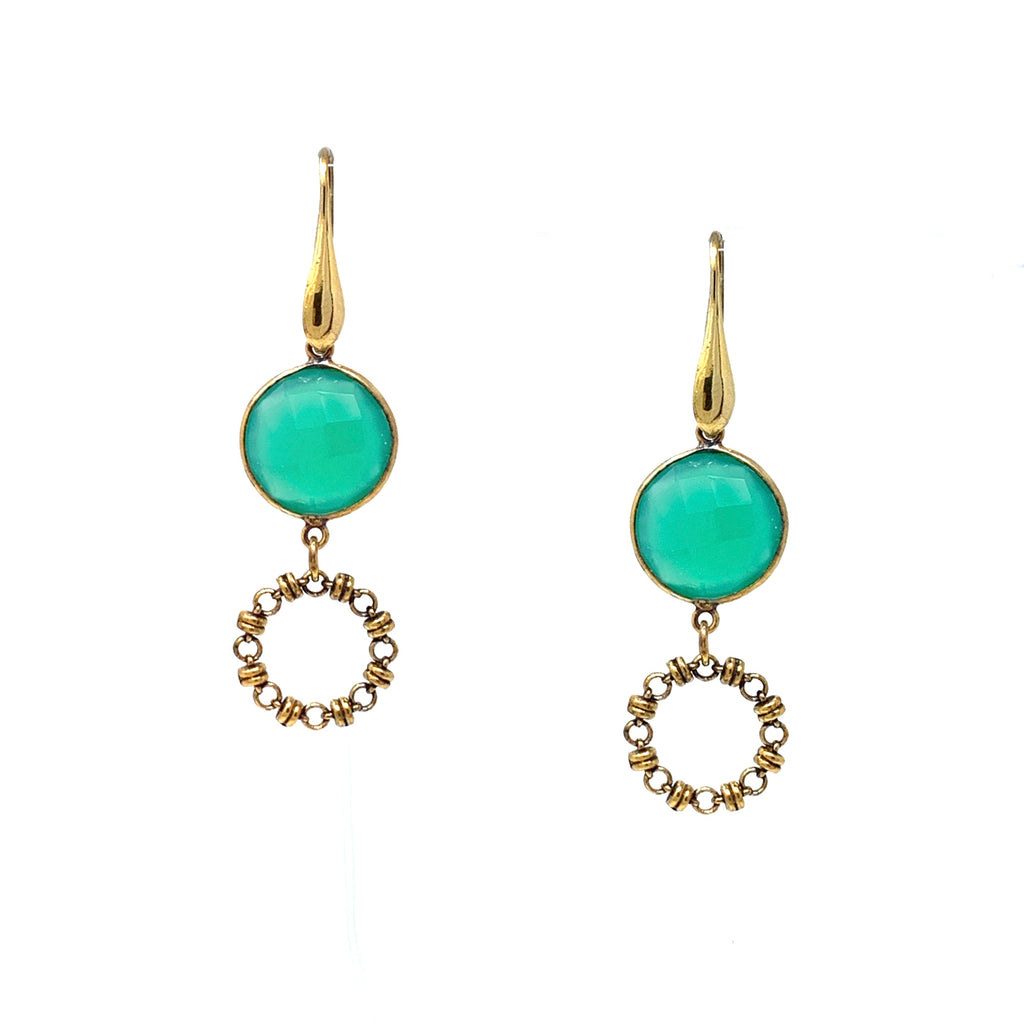 Earrings Botticelli x1 Green Agate x1 Antique Gold